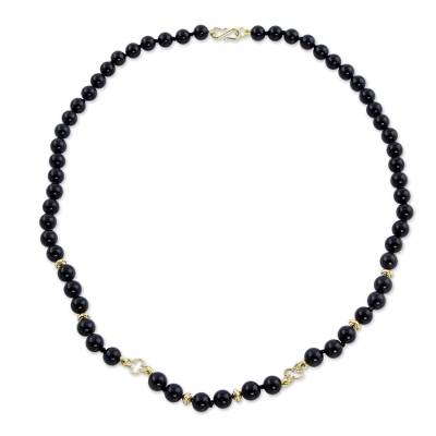 Onyx Strand Necklace with 18k Gold Plated Flowers