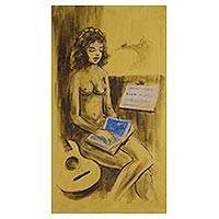 'Nude II' - Original Brazilian Nude Portrait of a Girl with a Guitar