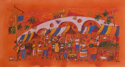'Open Air Market at Lapa' - Brazilian Naif Market Painting in Orange