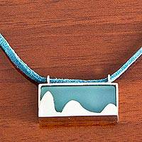 Leather and agate pendant necklace, 'Pão de Açucar in Green' - 925 Silver Rio Landmark on Green Pendant on Leather Necklace