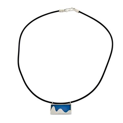 Brazilian Landmark on Blue Agate Pendant on Leather Necklace