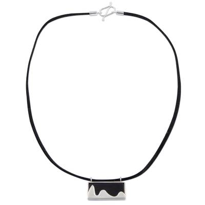 925 Silver Brazilian Landmark on Agate and Leather Necklace