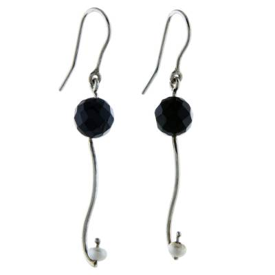 White Pearl Black Agate 925 Sterling Silver Hook Earrings