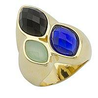 Gold plated multi-gemstone cocktail ring, 'Blue Magnitude' - Gold Plated Onyx and Agate Cocktail Ring from Brazil