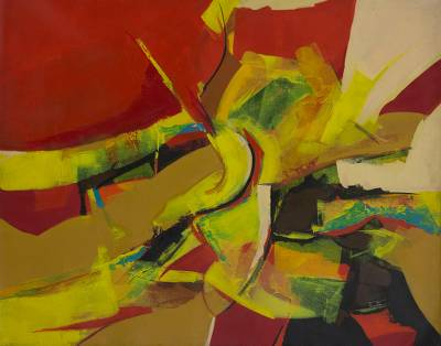 'Emotions - Brazilian Red and Yellow Themed Signed Abstract Painting