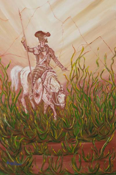 'Don Quixote' - Original Brazilian Fine Art Painting of Don Quixote