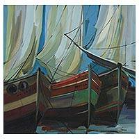 'Stella' - Modern Original Brazilian Painting of Sailboats