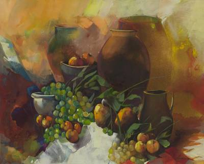 'Tropical Macedonia' (2013) - Brazil Still Life with Grapes Signed Original Painting