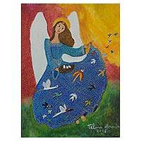 'Savannah Angel and Birds' - Magical Realism Naif Angel Painting from Brazil