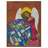 'Angel of Compassion' - Signed Naif Angel Limited Edition Ecology Painting
