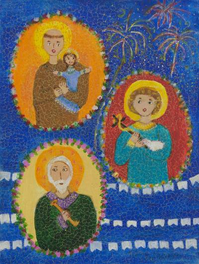 'Folklore and Faith' - Brazilian Naif Painting of Three Catholic Saints