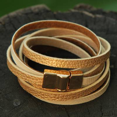 Gold accent wrap bracelet, 'Golden Beige Parallels' - Faux Leather Wrap Bracelet with Gold Plated Magnetic Clasp