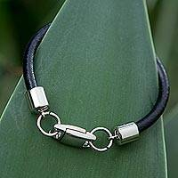 Leather wristband bracelet, 'High Definition' - Brazilian Black Leather Bracelet with Stainless Steel