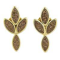 Brazilian drusy agate button earrings, 'Bronze Foliage' - 18k Gold Plated Brazilian Drusy Agate Earrings