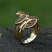 Brazilian drusy agate wrap ring, 'Bronze Foliage' - 18k Gold Plated Brazilian Drusy Agate Wrap Ring