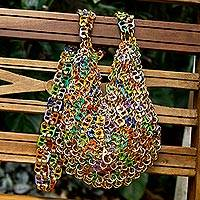 Soda pop-top shoulder bag, 'Festive Fashion' - Recycled Soda Pop-Top Shoulder Bag with Brass Rings