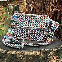 Soda pop-top shoulder bag, 'Carnaval in Grey' - Colorful Pop Top Crocheted Grey Shoulder Bag from Brazil