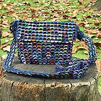 Soda pop-top shoulder bag, 'Carnaval in Blue' - Blue Shoulder Bag Crocheted of Multi-Color Pop Tops