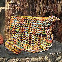 Soda pop-top shoulder bag, 'Carnaval in Yellow' - Crocheted Yellow Shoulder Bag of Multi-Color Pop Tops