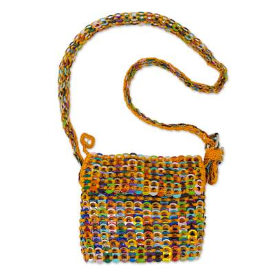 Crocheted Yellow Shoulder Bag of Multi-Color Pop Tops