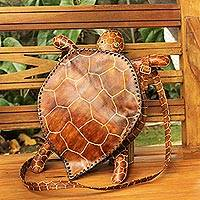 Leather shoulder bag, 'Brown Brazilian Turtle'