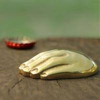 Bronze bottle opener, 'Golden Hand' - Signed Bronze Hand Sculpture Bottle Opener