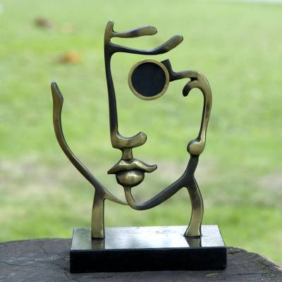 Bronze sculpture photo frame, 'Myself' - Signed Bronze Woman's Self Portrait Photo Frame Sculpture