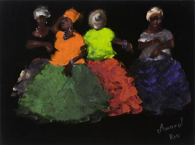 'Baianas III' - Bahia Women Painting on Black Velvet Signed Painting