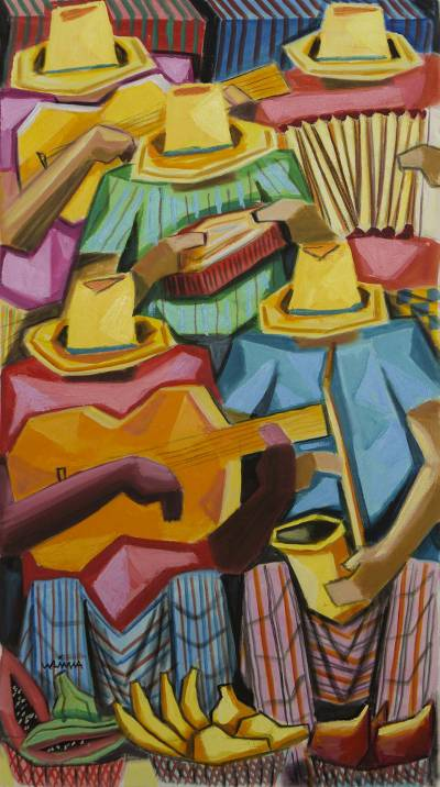 'Musicians at the Fruit Market' - Brazilian Multicolor Painting of Musicians Signed by Artist