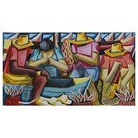 'Mending Nets' - Signed Painting of Fishermen and Women in Brazil