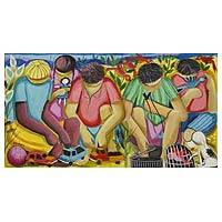 'Children's Games' - Signed Painting of Children Playing from Brazil