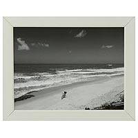 'The Fisherman's Bicycle' - Framed Black and White Brazilian Beach Photograph