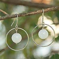 Agate dangle earrings, 'All Aglow' - White Agate Gems on Artisan Crafted Sterling Silver Earrings
