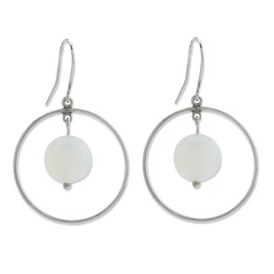 White Agate Gems on Artisan Crafted Sterling Silver Earrings