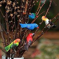Wood ornaments, 'Birds in My Garden' (Set of 5) - Set of 5 Brazilian Bird Ornaments for Display