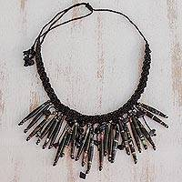 Recycled paper and hematite waterfall necklace,