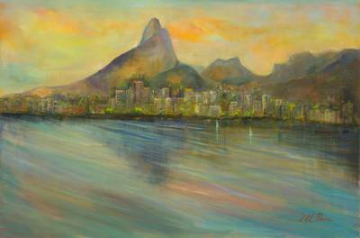 'View from the Lagoon' - Rio de Janeiro at Dawn Landscape Painting Signed Fine Art