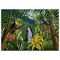 'Tropical Forest' - Toucans and Macaw in Brazilian Tropical Forest Painting