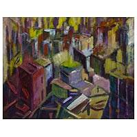 'Morning' - Original Brazilian Cityscape Painting in Bold Colors