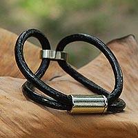 Leather wristband, 'Metallic Unison' - Artisan Crafted Steel and Black Leather Bracelet from Brazil