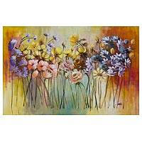 'Harmonia' - Signed Original Acrylic Painting on Canvas of Flowers
