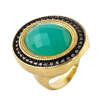 Aquamarine Gold Plated Cocktail Ring with Rhodium