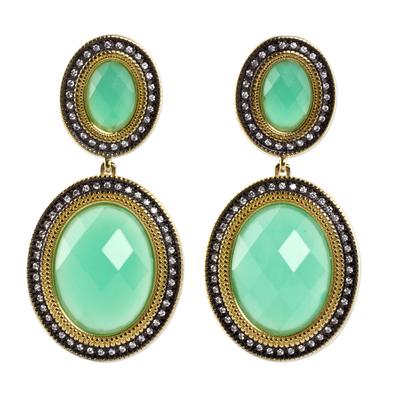 Aquamarine Gold Plated Earrings