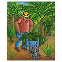 'Banana Picker' - Brazilian Banana Picker Oil Painting Signed Fine Art