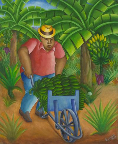 Brazilian Banana Picker Oil Painting Signed Fine Art