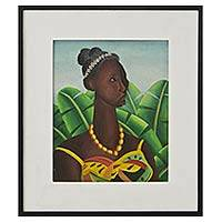 'Oxum in the Banana Grove' - Signed Oil Painting Oxum Candomble Deity Banana Grove