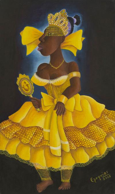 Painting of Oxum Candomble Deity Signed Brazilian Fine Arts