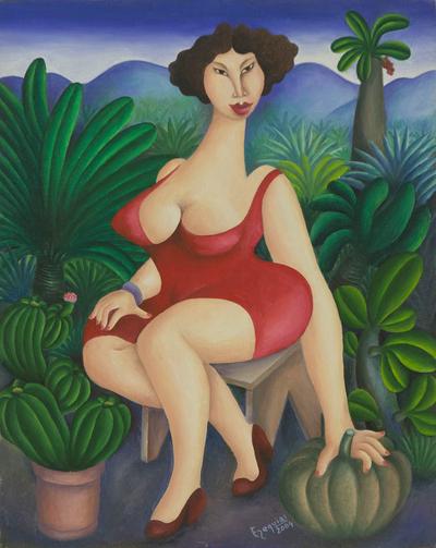 Beautiful Woman in Red in Deep Green Brazilian Garden