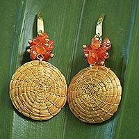 Agate and golden grass dangle earrings, 'Golden Discus' - Hand Crafted Agate and Golden Grass Dangle Earrings