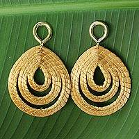 Gold accented golden grass dangle earrings, 'Golden Droplets' - Hand Crafted Golden Grass Dangle Earrings with Gold Plating
